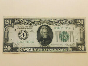 1928 Twenty Dollar Federal Reserve Note, Cleve Ohio, SN D06731891A