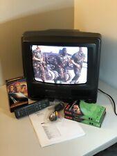 "TV VCR Combo w Remote & 2 Blank VHS 11"" Goldstar (Retro Gaming AV Port in Front)"