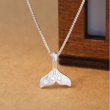 "Tail Pendant Ocean Beach Necklace I35 16-18"" Silver Tone 3D Oxidized Mermaid"