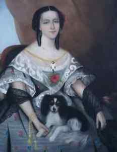 J.W.STOCK 1853...GRAND & MAGNIFIQUE PASTEL SUR TOILE..JEUNE FEMME AU PETIT CHIEN