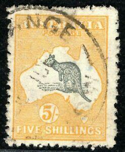 AUSTRALIA KGV Kangaroo Stamp SG.30 5s ROO (1915) Used V/XFU Cat £350+ CBLUE125