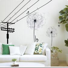 HUGE Flower Dandelion Black Wall Art Decal Stickers Home Decoration Living Room