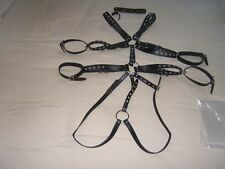 Leather chest harness with Collar and arm straps. Size M/L fully adjustable