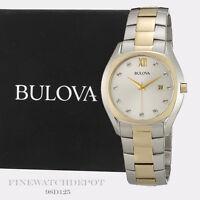 Authentic Bulova Men's Diamond Silver Dial Two Tone Quartz Watch 98D125