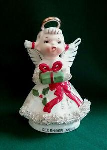 Vintage Lefton? Napco? December Angel Spaghetti Trim Figurine