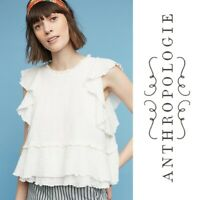 ANTHROPOLOGIE Maeve Top Cascade Tiered Shell Blouse Womens S Ivory Ruffle $58