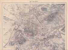 ATHEN Attika Akropolis Original KARTE Stadtplan von 1882 Olympia Stadion