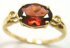 SYJEWELLERY 9CT YELLOW GOLD NATURAL GARNET & DIAMOND RING    SIZE N   R921