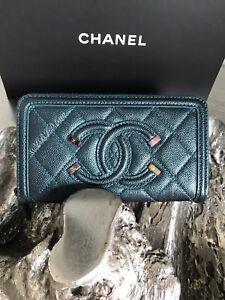 CHANEL Turquoise Caviar Medium Zip Wallet 18B Filigree Iridescent Rainbow NWT