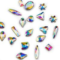 10 20 50pcs 3D Nail Art Rhinestones Flat Shaped Elongated Glass Colorful Stones