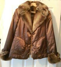 Women's Designer Fur Collar & Cuffs Warm Jackets in Brown by KENAR size 10 UK