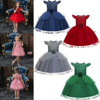 Toddler Baby Kids Girls Fashion Patchwork Ruffle Tulle Lace Party Princess Dress