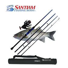 """SANTIAM FISHING RODS 4 PC 10'0"""" 12-25LB TRAVEL SURF ROD AND REEL COMBO"""