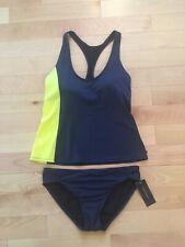 NWT Tommy Hilfiger Swimsuit Racerback Tankini Navy Yellow, Sz L Top, Sz M Botto