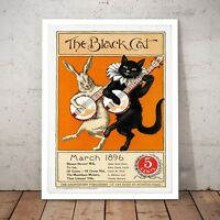 """""""The Black Cat"""" Vintage Home Decor Art Poster Print - A4 to A0 Framed"""