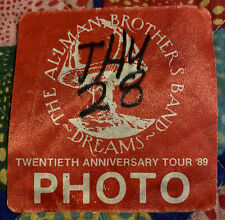 """THE ALLMAN BROTHERS BAND - """"DREAMS TOUR"""" PHOTO PASS - 20TH ANNIVERSARY TOUR 1989"""