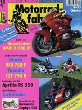 Motard 10/95 1995 APRILIA RS 250 BMW R 1100 RT HONDA VFR 750 F rämo ZZR