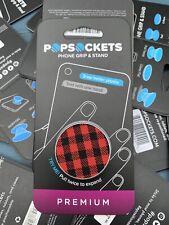NEW PopSockets PREMIUM (red plaid ) Phone Grip Universal Phone Holder FREE SH.
