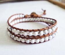 howlite stone leather wrap bracelet,women bracelet,size 12-15''handmade