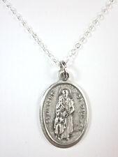 "St Vincent de Paul Medal Italy Pendant Necklace 20"" Chain Gift Box & Prayer Card"
