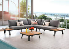 AISER Royal Garten Lounge Set -Samoa- Sitzecke mit Kaffee Tisch aus Kunstholz