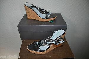 Sandal Shoe Compensates LOLA ESPELETA 100% Leather Heel Size 37 New
