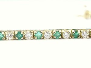 Fine Gem Emerald Diamond Yellow Gold Tennis Bracelet 3.24CT
