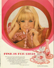 1968 Vintage ad for Lustre Creme Shampoo~Pink is for Girls/Pretty Blonde Model