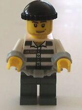 *NEW* Lego Minifig ROBBER PRISONER Handcuffs WHITE TORSO Dark Gray Stripes 50380