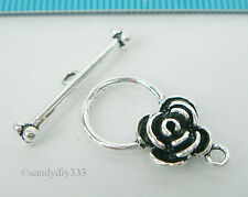 1x STERLING SILVER ROSE FLOWER TOGGLE CLASP 11.8mm #2154
