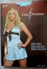 PIN UP AQUA BLUE SILKY BOW MINI DRESS LEG AVENUE ALICE IN WONDERLAND LOLITA M/L