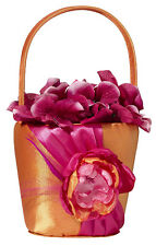 Hot Pink & Orange flower girl basket wedding flowers basket