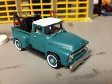 1/64 56 Ford F1 Pickup in Faded Green and White with a Wrecker Boom in the Bed