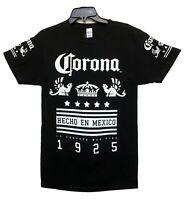 Corona Men's Official Logo Beer Hecho En Mexico 1925 Licensed T-Shirt Black New