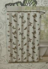 ENVOGUE 100% COTTON SILVER PEACH BLUE YELLOW GRAY BUTTERFLY SHOWER CURTAIN NEW