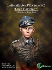 MJ miniatures Erich Hartmann Pilote Luftwaffe Ace WW2 1/9th buste non peinte Kit