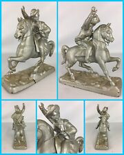 VTG Mid Century Modern 3 MUSKETEER(S) Soldier on Horse Cast Metal Statue Figure