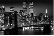NEW - NY New York City BROOKLYN BRIDGE Night Skyline Art Poster Print 24 x 36