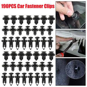 190PCS  Auto Car Plastic Rivet Fasteners Push Pin Trim Bumper Fender Panel Clips