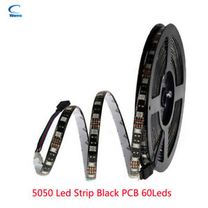 1-5M DC 12V LED Strip Light SMD 5050 RGB RGBW RGBWW black PCB tape string lamp