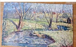 Vintage Essell Picture Puzzle No. 6 Trout Creek 200+ Pieces Complete, 1940's