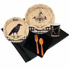 HALLOWEEN SKULL MANSION PARTY PACK 8 GUEST PLATES CUPS NAPKINS CROW SKELETON