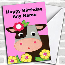 Pink Cute Cow Birthday Customised Card