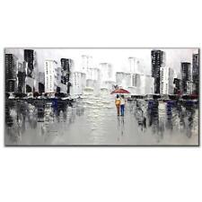 "Fasdi-Art Handpainted Modern Textured Wall Art Canvas Cityscape Decor 48"" x 24"""