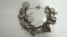 STERLING SILVER 30 CHARM VINTAGE BRACELET MOVING PART CHARMS HEART LOCKET