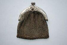 Ancien petit porte-monnaie maille Aumonière Art Nouveau Métal argenté