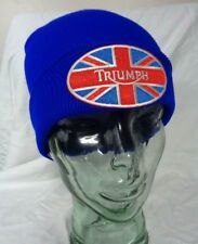 triumph motorcycles beanie ski cap winter hat blue union flag