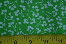"By 1/2 Yd, 44"" Wide, White Calico on Bright-Green Cotton Plisse, N1258"