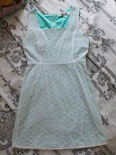 """Emmelee """"Francesca's"""" Womens SMALL White Eyelet Sundress Dress, Aqua Lining"""