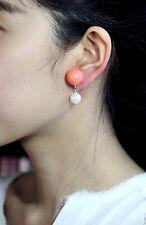 Boucles d'Oreilles Clips Doré Pendant Perle Blanc Corail Retro J6